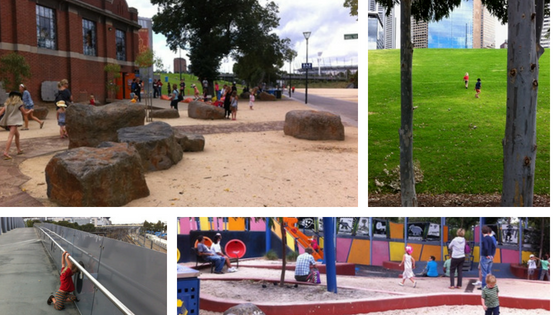 Our Flinders Street to Jolimont walk features some great play spaces.