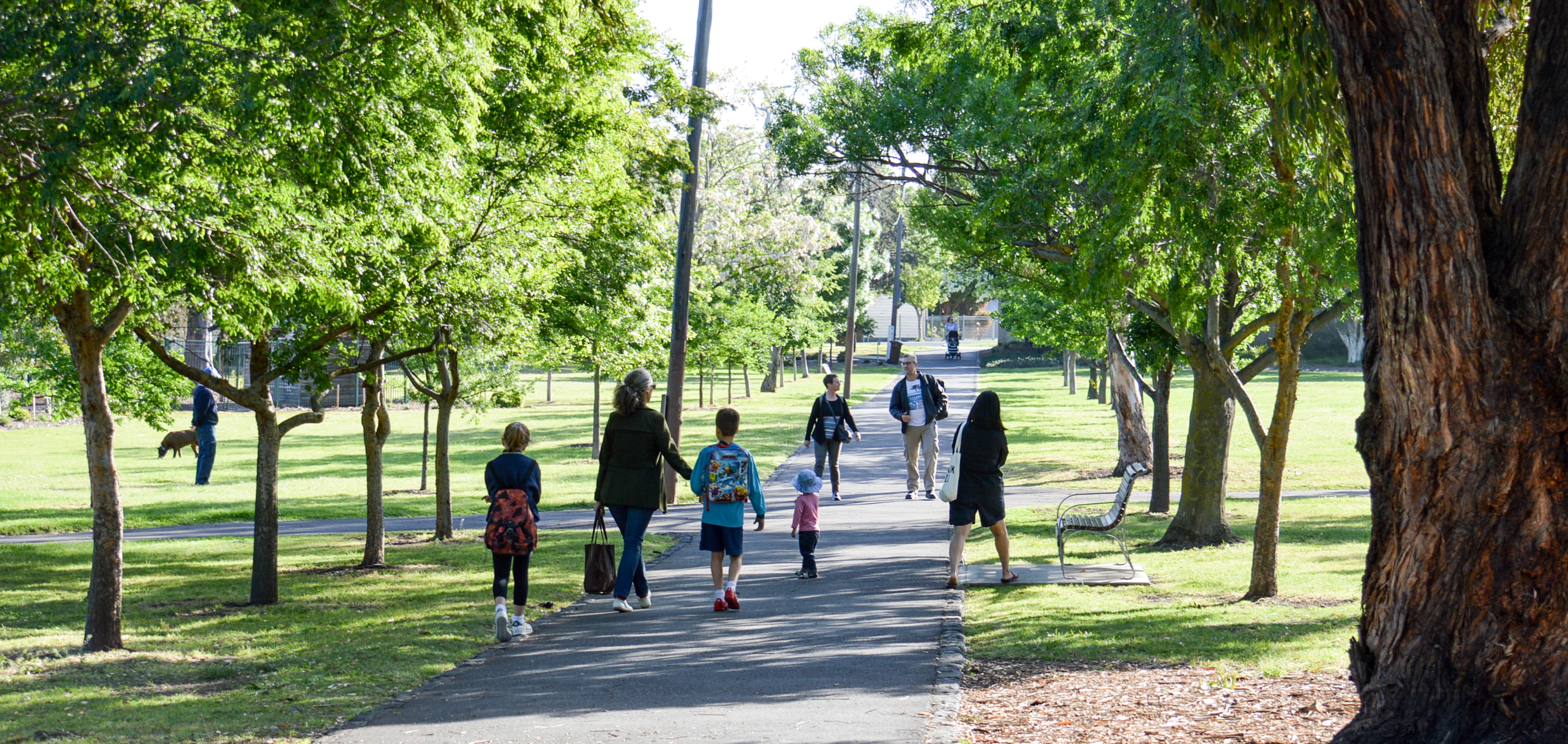 Lots of people walking in Yarraville park from October 2017 young people shoot
