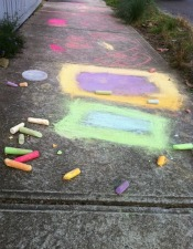 Footpath chalk masterpieces