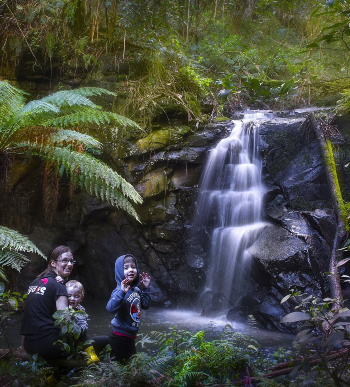 Bree-arne and family enjoy one of the Otways' spectacular waterfalls!