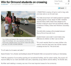 Win for Ormond students on crossing 31.01.12